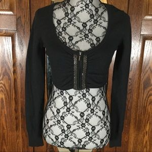 Express Black Long Sleeve Zip Front Shrug Sweater